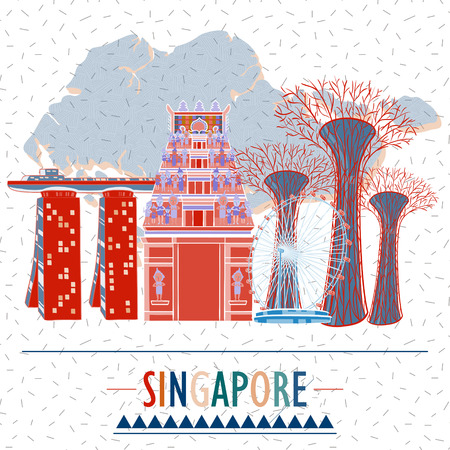marina life: Singapore travel image design poster in hand drawn style Illustration