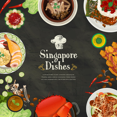 laksa: top view of Singapore traditional delicacies in flat style