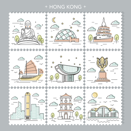 attractive: creative Hong Kong travel attractions stamp design