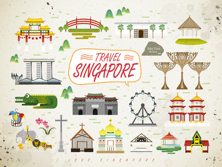 singapore: Singapore must see attractions collection in flat style