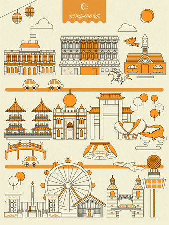 Singapore must see attractions poster in flat style