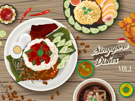 delicacy: top view of Singapore traditional delicacies on wooden table