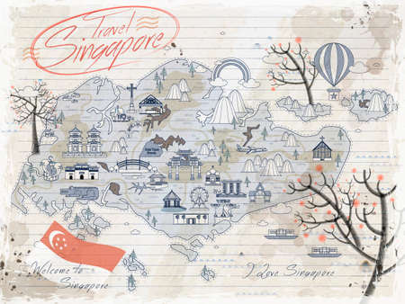 стиль жизни: Сингапур ретро Карта путешествия на бумаге для заметок Иллюстрация