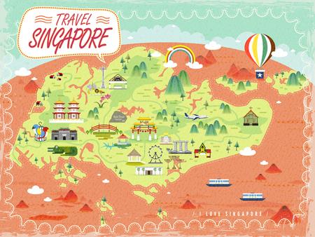 シンガポール旅行フラットなデザインの素敵な観光スポット マップ