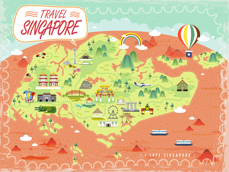 Singapore travel map with lovely attractions in flat design Фото со стока - 48059327