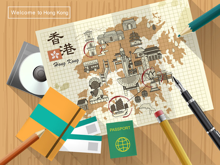 notepaper: creative Hong Kong travel map on notepaper - the upper left title is Hong Kong travel in Chinese word Illustration