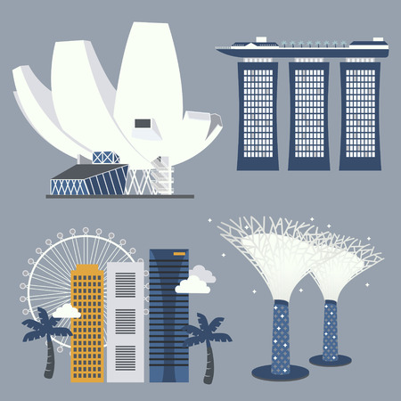 attractive: Singapore travel attractions collection in flat style