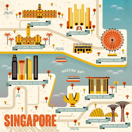 singapore city: Singapore Marina bay travel map in flat design