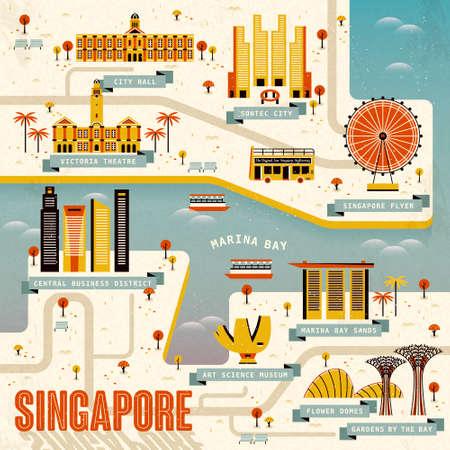 transportes: Singapur Marina Bay mapa de la de diseño plano Vectores