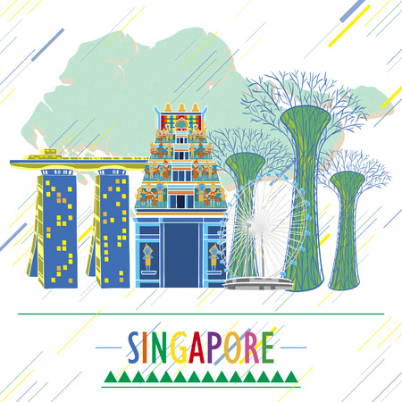 attractive: Singapore travel image design poster in hand drawn style Illustration