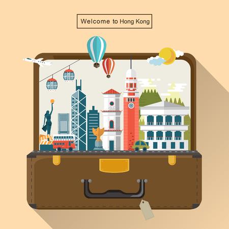 bagagli: creativi di Hong Kong attrazioni di viaggio nel bagaglio Vettoriali