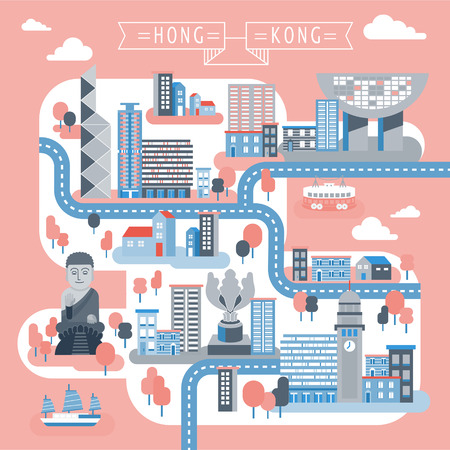 フラット スタイルで魅力的な香港旅行地図デザイン