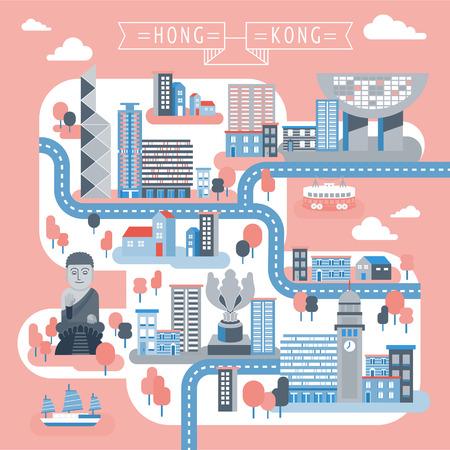 플랫 스타일의 매력적인 홍콩 여행지도 디자인