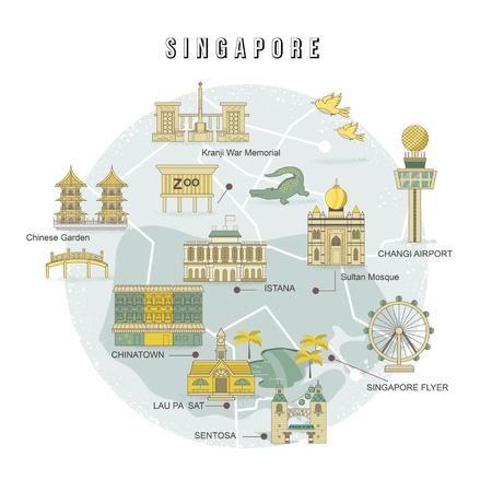 Singapore moeten attracties collectie in vlakke stijl zien Stock Illustratie