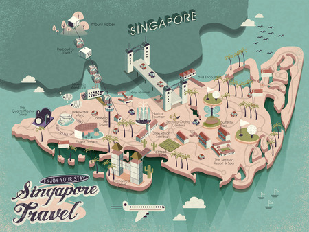 lovely Singapore must see attractions travel map in 3d isometric design 向量圖像