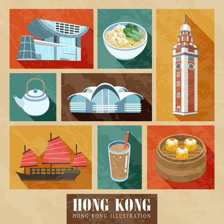 Hong Kong attarctions and delicacies in flat design