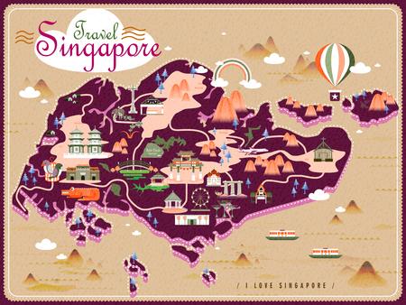 Singapore reizen kaart met mooie attracties in plat design