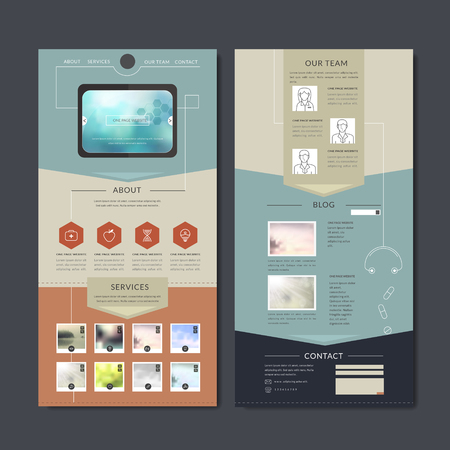 simplicity one page web design in flat style