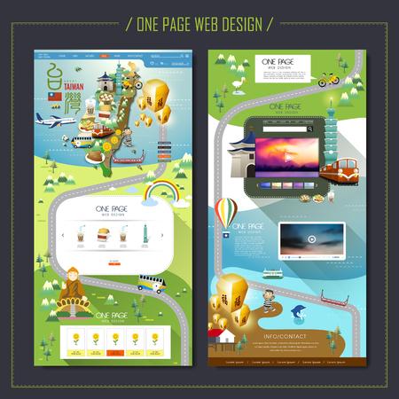 een pagina Web Design met Taiwan reizen elementen Stock Illustratie