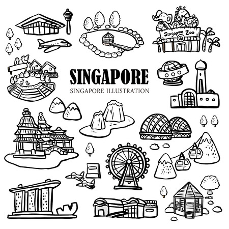chinatown: Singapore must see attractions collection in hand drawn doodle style