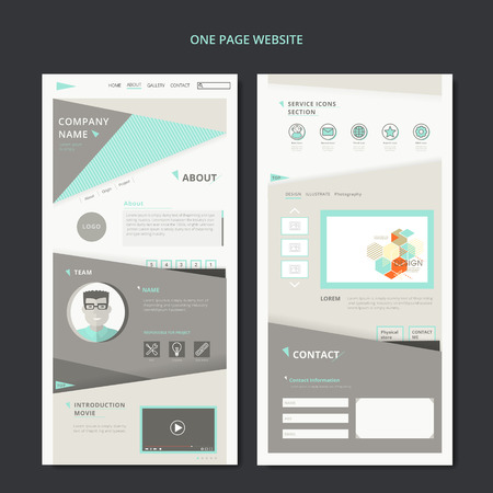 modern one page web design with geometric elements 版權商用圖片 - 48060162