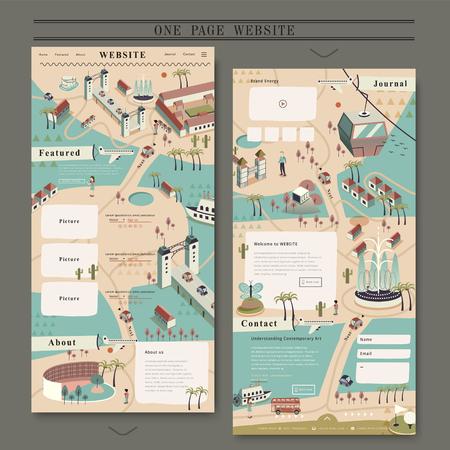 フラット スタイルの素敵な 1 ページの web デザイン