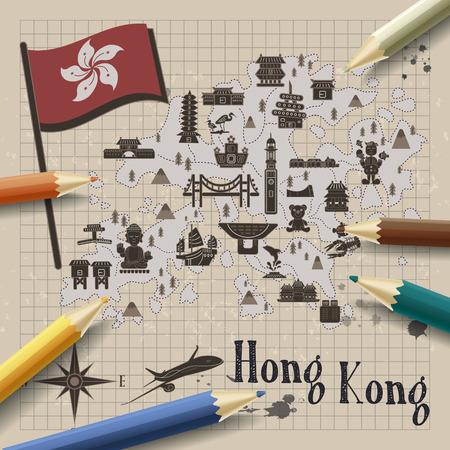 notepaper: creative Hong Kong travel map on notepaper