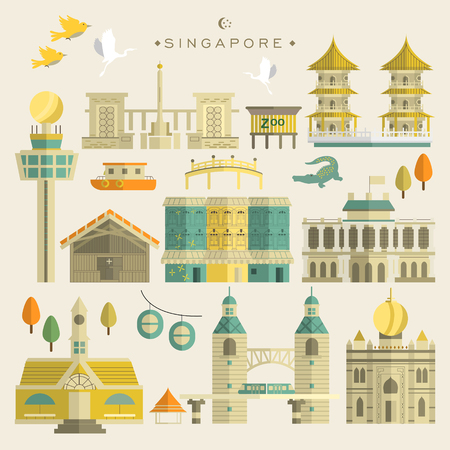 attractive: Singapore must see attractions collection in flat design