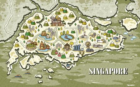 愛らしいシンガポール旅行マップ手に描画スタイル