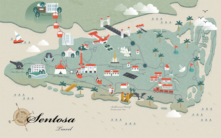 lovely Sentosa must see attractions travel map in 3d isometric design Illustration