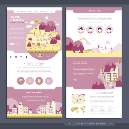 lovely one page web design in flat style