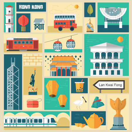 attractions: adorable Hong Kong travel attractions collections in flat design