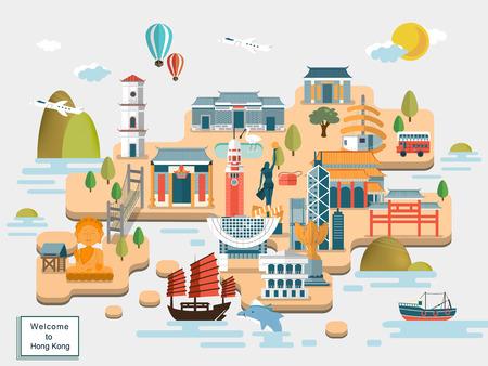 평면 디자인의 사랑스러운 홍콩 여행지도 디자인 일러스트