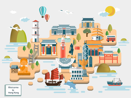 HONG KONG: lovely Hong Kong travel map design in flat design