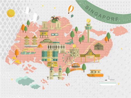 adorable Singapore must see attractions travel map in flat style