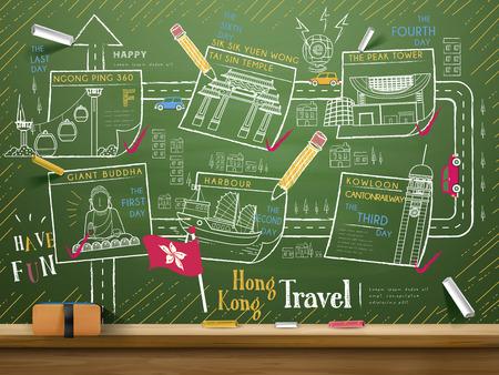 ilustracion: Hong Kong creativa colección de elementos de viaje en la pizarra