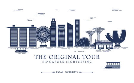 Singapore travel concept design with bay scene in flat design Çizim