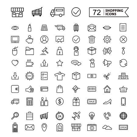 simple and trendy 72 thin line icon for shopping concept 일러스트