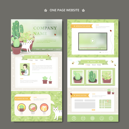 adorable one page web design with lovely succulent plants