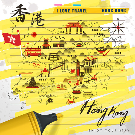 notepaper: attractive Hong Kong travel map on notepaper with highlighter - Hong Kong travel in Chinese word on upper left