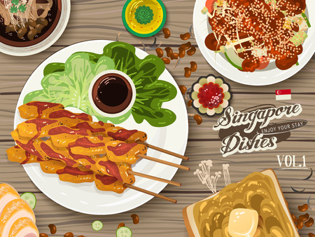 top view of Singapore traditional delicacies on wooden table