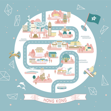 hong kong: lovely Hong Kong travel collections in round shape