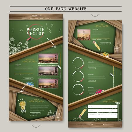 黒板の要素を持つ 1 つのページ web デザイン  イラスト・ベクター素材