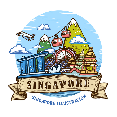 lovely Singapore scenery poster design in hand drawn style Çizim