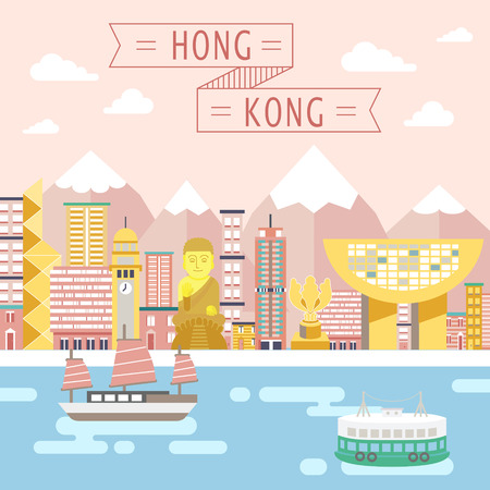 lovely Hong Kong travel concept design in flat style Illustration