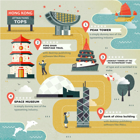 HONG KONG: attractive Hong Kong travel attractions top five in flat design