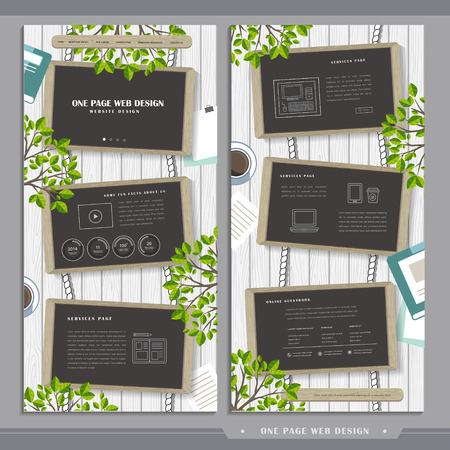 graceful one page web design with top view of chalkboards