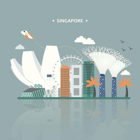 attraktiv: Singapur Sehenswürdigkeiten Reiseplakatentwurf im flachen Stil Illustration