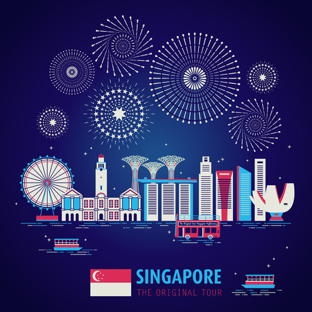 Singapore travel concept design with night scene in flat design