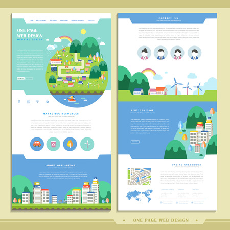 website design: lovely one page web design in flat style